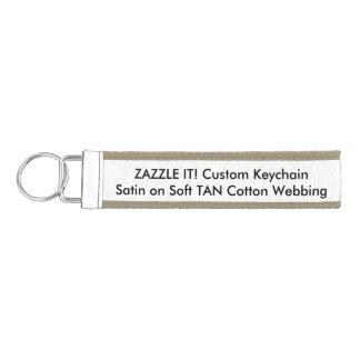Custom TAN Ribbon Key Chain Keyring Blank Template Wrist Keychain