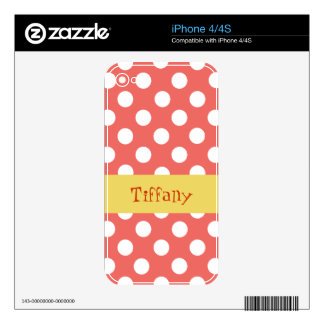 Custom Tangerine and White Polka Dot iPhone 4 Skin