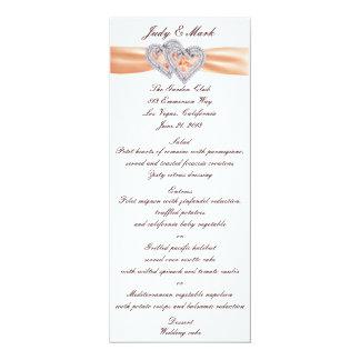 Custom Tangerine Hearts Menu Card