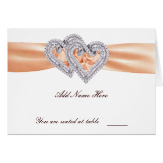 Custom Tangerine Hearts Place Card