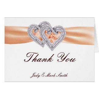 Custom Tangerine Hearts Thank You Card