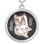 Custom Tango Cats Art Sterling Necklace
