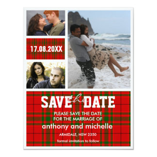 Custom tartan photo block wedding save the date card