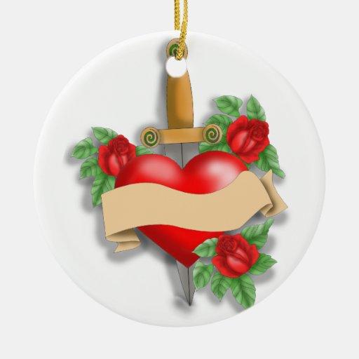 Custom tattoo heart christmas tree ornament for Custom christmas tree ornaments