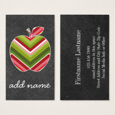 Custom Teacher Apple - Red Green Chevron Pattern Business Card at Zazzle