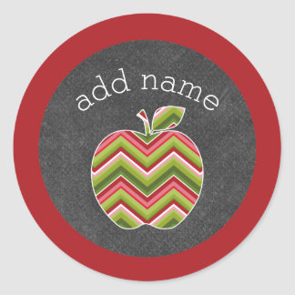 Custom Teacher Apple - Red Green Chevron Pattern Classic Round Sticker