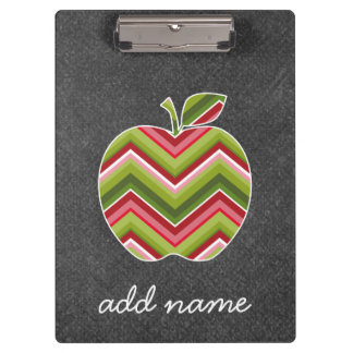 Custom Teacher Apple - Red Green Chevron Pattern Clipboard
