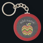 "Custom Teacher Apple - Red Green Chevron Pattern Keychain<br><div class=""desc"">A perfect back to school item for any teacher or student. A trendy design with a chevrons pattern. You can add your name or monograms.</div>"