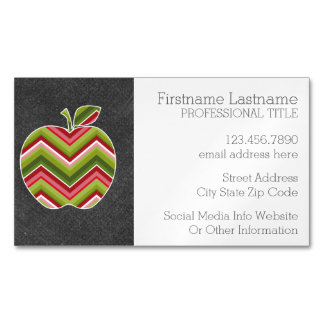 Custom Teacher Apple - Red Green Chevron Pattern Magnetic Business Card