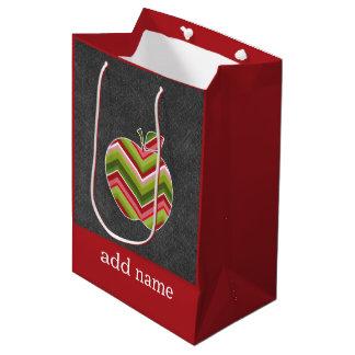 Custom Teacher Apple - Red Green Chevron Pattern Medium Gift Bag