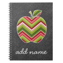 Custom Teacher Apple - Red Green Chevron Pattern Notebook