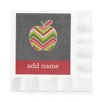 Custom Teacher Apple - Red Green Chevron Pattern Paper Napkin