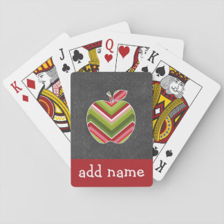Custom Teacher Apple - Red Green Chevron Pattern Playing Cards