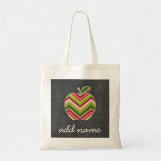 Custom Teacher Apple - Red Green Chevron Pattern Tote Bag