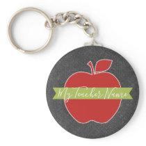 Custom Teacher Apple - Red Green Handwritten Font Keychain