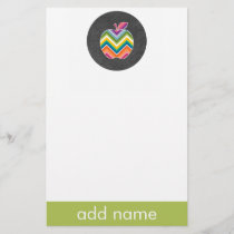 Custom Teacher Apple with Trendy Chevron Pattern