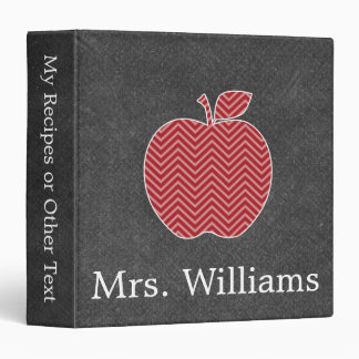 Custom Teacher Apple with Trendy Chevron Pattern Binder