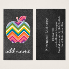 Custom Teacher Apple With Trendy Chevron Pattern Business Card at Zazzle