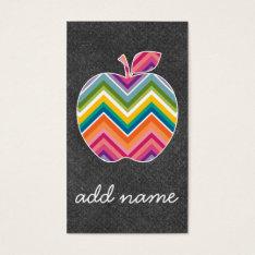 Custom Teacher Apple with Trendy Chevron Pattern Business Card at Zazzle