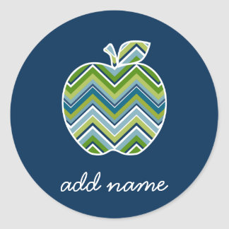 Custom Teacher Apple with Trendy Chevron Pattern Classic Round Sticker