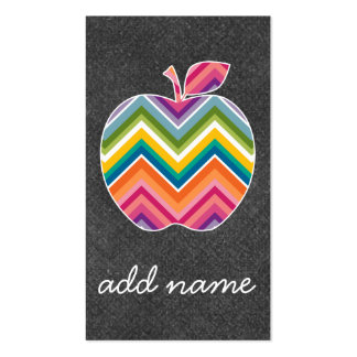 Custom Teacher Apple with Trendy Chevron Pattern Double-Sided Standard Business Cards (Pack Of 100)