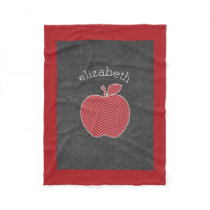 Custom Teacher Apple with Trendy Chevron Pattern Fleece Blanket
