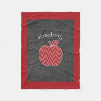 Custom Teacher Apple with Trendy Chevron Pattern Fleece Blanket