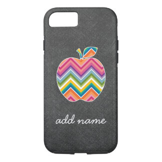 Custom Teacher Apple with Trendy Chevron Pattern iPhone 8/7 Case