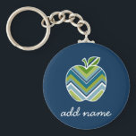 "Custom Teacher Apple with Trendy Chevron Pattern Keychain<br><div class=""desc"">A perfect back to school item for any teacher or student. A trendy design with a chevrons pattern. You can add your name or monograms.</div>"