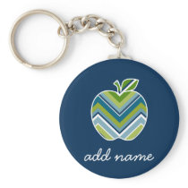 Custom Teacher Apple with Trendy Chevron Pattern Keychain