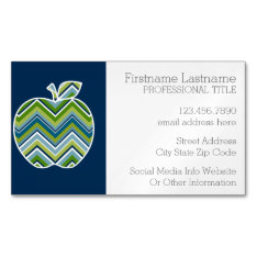 Custom Teacher Apple With Trendy Chevron Pattern Magnetic Business Card at Zazzle