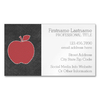 Custom Teacher Apple with Trendy Chevron Pattern Magnetic Business Cards (Pack Of 25)