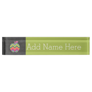 Custom Teacher Apple with Trendy Chevron Pattern Name Plate