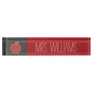 Custom Teacher Apple with Trendy Chevron Pattern Nameplate