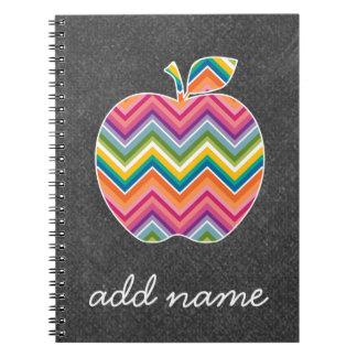 Custom Teacher Apple with Trendy Chevron Pattern Notebook