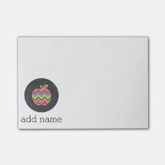 Custom Teacher Apple with Trendy Chevron Pattern Post-it® Notes