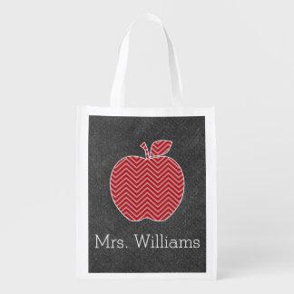 Custom Teacher Apple with Trendy Chevron Pattern Reusable Grocery Bag