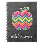 Custom Teacher Apple with Trendy Chevron Pattern Spiral Notebook