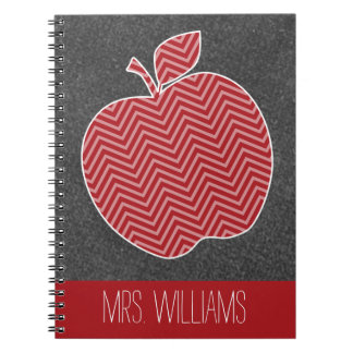 Custom Teacher Apple with Trendy Chevron Pattern Spiral Notebook