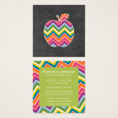 Custom Teacher Apple With Trendy Chevron Pattern Square Business Card at Zazzle