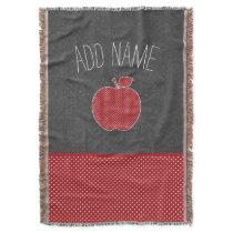Custom Teacher Apple with Trendy Chevron Pattern Throw Blanket