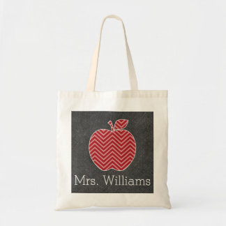 Custom Teacher Apple with Trendy Chevron Pattern Tote Bag