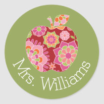 Custom Teacher Apple with Trendy Floral Pattern Classic Round Sticker