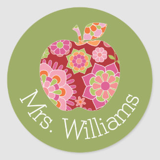 Custom Teacher Apple with Trendy Floral Pattern Classic Round Sticker