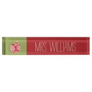 Custom Teacher Apple with Trendy Floral Pattern Desk Name Plate