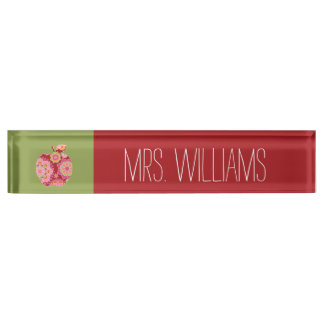 Nameplates - Custom Teacher Apple with Trendy Floral Pattern Desk Name Plate