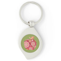Custom Teacher Apple with Trendy Floral Pattern Keychain