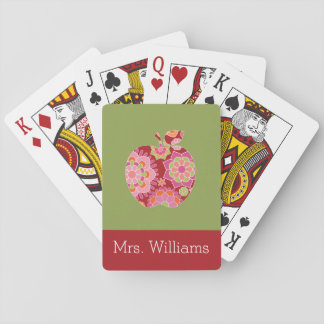 Custom Teacher Apple with Trendy Floral Pattern Poker Deck