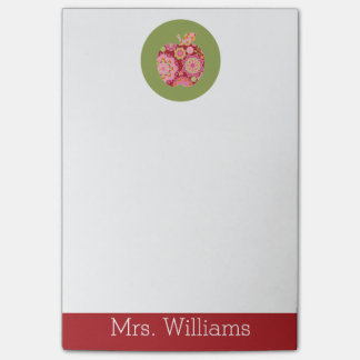 Custom Teacher Apple with Trendy Floral Pattern Post-it® Notes