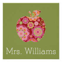 Custom Teacher Apple with Trendy Floral Pattern Poster